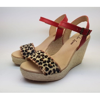 Sandalia Plataforma Cuña Yute Piel, Glitter y Laminados