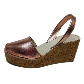 spanish leather sandals wedge cork